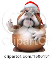 3d Christmas Bulldog On A White Background