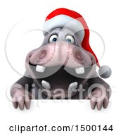 Clipart Of A 3d Henry Christmas Hippo On A White Background Royalty Free Illustration by Julos