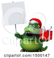 Clipart Of A 3d Green Christmas T Rex Dinosaur Holding A Sign And Gift On A White Background Royalty Free Illustration