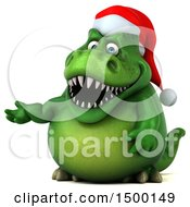 Clipart Of A 3d Green Christmas T Rex Dinosaur Presenting On A White Background Royalty Free Illustration