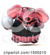 3d Pink Business Elephant Holding A Golf Ball On A White Background