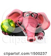 Clipart Of A 3d Pink Business Elephant Holding A Globe On A White Background Royalty Free Illustration