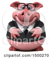 Clipart Of A 3d Chubby Business Pig On A White Background Royalty Free Illustration by Julos