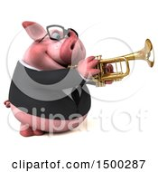 3d Chubby Business Pig Playing A Trumpet On A White Background