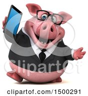 3d Chubby Business Pig Holding A Smart Phone On A White Background
