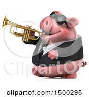3d Chubby Business Pig Playing Trumpet On A White Background