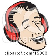 Happy Young Man Wearing Ear Muffs And Singing Christmas Carols Retro Clipart Illustration