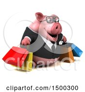 3d Chubby Business Pig With Shopping Bags On A White Background