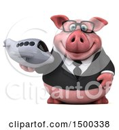 Clipart Of A 3d Chubby Business Pig Holding A Plane On A White Background Royalty Free Illustration