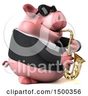 3d Chubby Business Pig Playing A Saxophone On A White Background