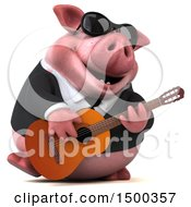 3d Chubby Business Pig Playing A Guitar On A White Background