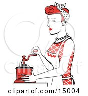 Beautiful Red Haired Housewife Or Maid Woman Using A Manual Coffee Grinder Clipart Illustration