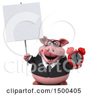 Clipart Of A 3d Chubby Business Pig Holding An Alarm Clock On A White Background Royalty Free Illustration