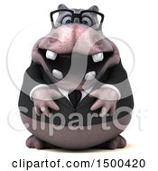 Clipart Of A 3d Henry Business Hippo On A White Background Royalty Free Illustration