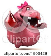 Clipart Of A 3d Pink Henrietta Hippo Holding A Blood Drop On A White Background Royalty Free Illustration