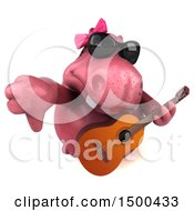 3d Pink Henrietta Hippo Holding A Guitar On A White Background