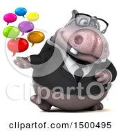 3d Business Hippo Holding Messages On A White Background