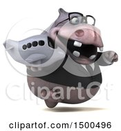Clipart Of A 3d Business Hippo Holding A Plane On A White Background Royalty Free Illustration