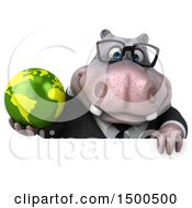 Clipart Of A 3d Business Hippo Holding A Globe On A White Background Royalty Free Illustration