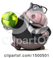 3d Business Hippo Holding A Globe On A White Background