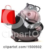 3d Business Hippo Holding A Shopping Bag On A White Background