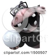3d Business Hippo Holding A Golf Ball On A White Background