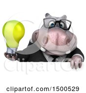 Poster, Art Print Of 3d Business Hippo Holding A Light Bulb On A White Background