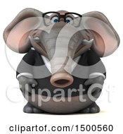 Clipart Of A 3d Business Elephant On A White Background Royalty Free Illustration by Julos