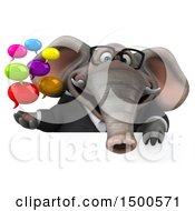 3d Business Elephant Holding Message On A White Background