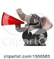 3d Business Elephant Using A Megaphone On A White Background