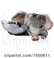 Clipart Of A 3d Business Elephant Holding An Airplane On A White Background Royalty Free Illustration