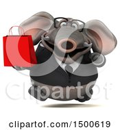 3d Business Elephant Holding A Shopping Bag On A White Background