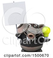 Poster, Art Print Of 3d Business Elephant Holding A Light Bulb On A White Background