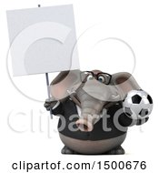 3d Business Elephant Holding A Soccer Ball On A White Background