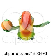 Clipart Of A 3d Green Macaw Parrot Holding An Orange On A White Background Royalty Free Illustration