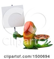 Clipart Of A 3d Green Macaw Parrot Holding A Pizza On A White Background Royalty Free Illustration