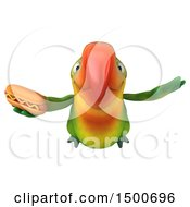 Clipart Of A 3d Green Macaw Parrot Holding A Hot Dog On A White Background Royalty Free Illustration