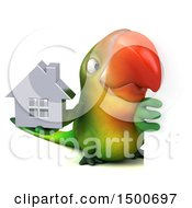Clipart Of A 3d Green Macaw Parrot Holding A House On A White Background Royalty Free Illustration