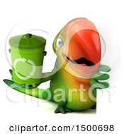 Clipart Of A 3d Green Macaw Parrot Holding A Recycle Bin On A White Background Royalty Free Illustration