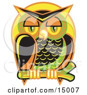 Wise And Colorful Owl Perched On A Branch At Night Against A Full Moon Clipart Illustration