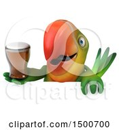 Clipart Of A 3d Green Macaw Parrot Holding A Beer On A White Background Royalty Free Illustration