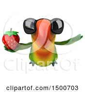 Clipart Of A 3d Green Macaw Parrot Holding A Strawberry On A White Background Royalty Free Illustration