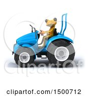Poster, Art Print Of 3d Yellow Frog On A Tractor On A White Background