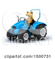Poster, Art Print Of 3d Yellow Frog Operating A Tractor On A White Background
