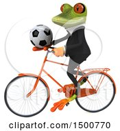 3d Green Business Frog Holding A Soccer Ball On A Bicycle On A White Background