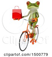 3d Green Frog Holding A Shopping Bag On A Bicycle On A White Background