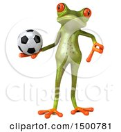 3d Green Frog Holding A Soccer Ball On A White Background