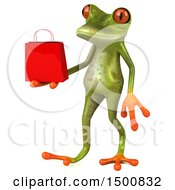 3d Green Springer Frog Holding A Shopping Bag On A White Background