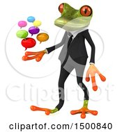3d Green Business Frog Holding Messages On A White Background