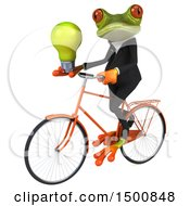 Poster, Art Print Of 3d Green Business Frog Holding A Light Bulb And Riding A Bike On A White Background